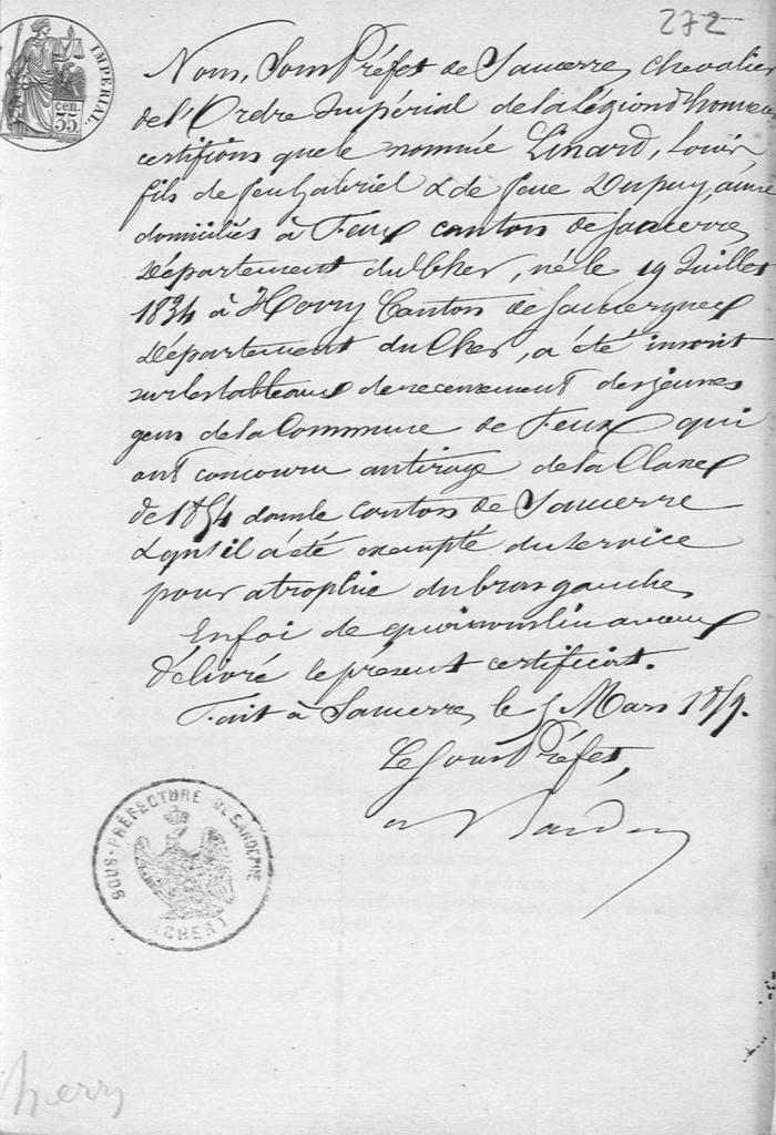 LINARD LOUIS BEAUNEZ ROSALIE M 1859